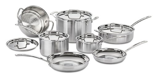 Cuisinart MCP-12N Multiclad Pro Stainless Steel 12-Piece Cookware Set (Aluminum Polished Cookware)