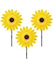 QuStars Pack of 3 Garden Decor Outdoor Wind Spinner Yard Decoration Sunflower
