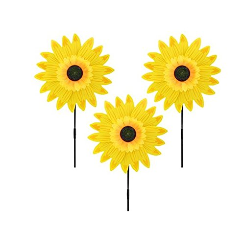 Pack of 3 Garden Decor Outdoor Wind Spinner Yard Decoration Sunflower (Yellow) (Sunflower Stake)