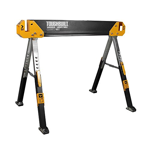 ToughBuilt - Folding Sawhorse/Jobsite Table - Sturdy, Durable, Lightweight, Heavy-Duty, 100% High Grade Steel, 1300lb Capacity, Pivoting Feet, Adjustable Height Legs, Easy Carry Handle (TB-C650) NEW (Best Jobsite Table Saw Review)