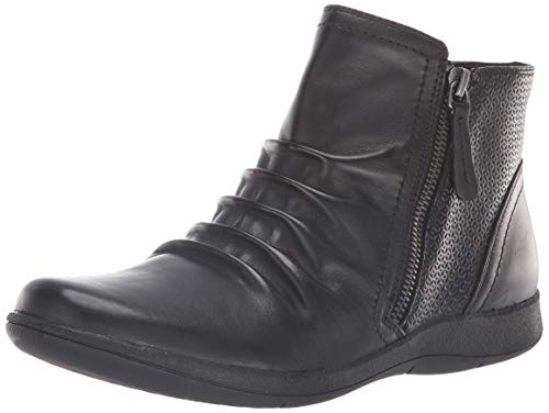 Rockport Women's Daisey Panel Boot Ankle, Black Leather, 9 M US (Rockport Boot Women)