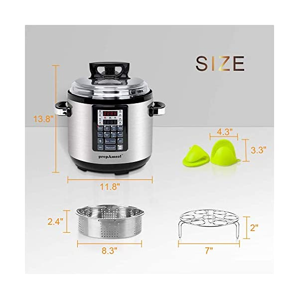 prepAmeal 6QT 8-IN-1 ( 3 Speeds Options ) Pressure Cooker with Accessories Set, Multi-Use Programmable Instant Cooker… 6