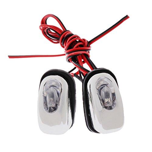 Dolity 1 Pair 12V LED Universal Car Windshield Spray Nozzle Wiper Washer Eyes Decoration Lights - -