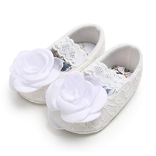 Sawimlgy US Infant Baby Girls Mary Jane Flats Lace Ribbon Anti-Slip Crib Shoes for Baptism Dress First Walkers Wedding Christening Gift (0-6 Months, 02. -