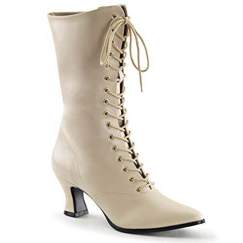 Funtasma Women's Victorian-120 Boot, Cream Polyurethane, 8 M