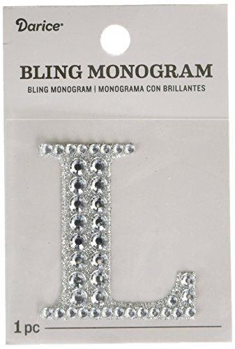 Darice 30053486 Silver Bling Monogram Letter L Sticker,