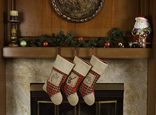 Imperial Home 3 Pcs Set - Classic Christmas Stockings 18 Cute Santas Toys Stockings (Burlap Plaid)