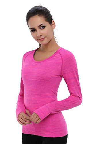 BAOMOSI Performance Women's Ultimate Yoga Long-Sleeve Run Tee Shirt Hot pink M