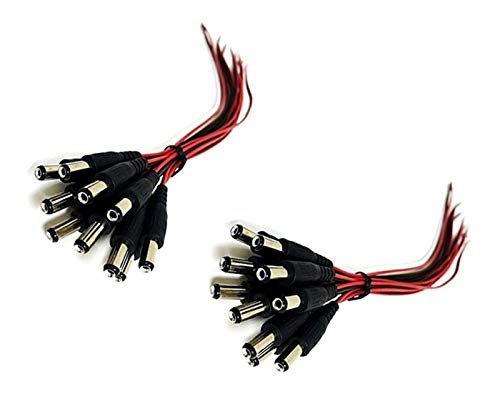 iMBAPrice CCTV Security Camera DC Male Power Plug Pigtail Cable (20 Pack) ()