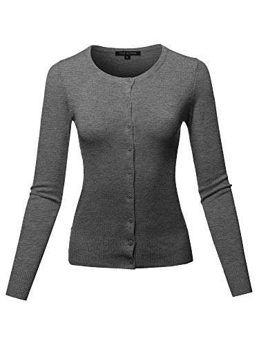 utton Down Long Sleeve Soft Knit Cardigan Charcoal S ()