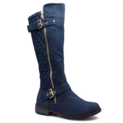 Blue Platform Denim (Forever Link Mango-21 Lady Boot (6.5 B(M) US, Premier Dk. Blue Denim))