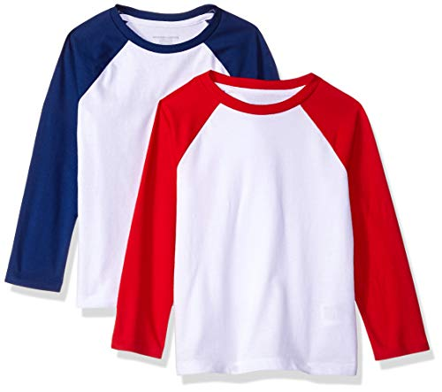 Amazon Essentials Toddler Boys' 2-Pack Raglan Tee, Blue Depths White with Tango red Sleeve, 3T