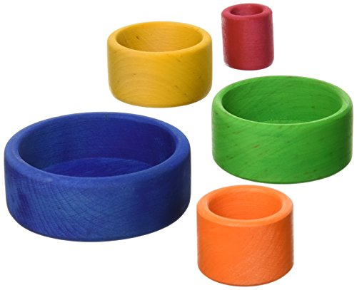 Grimm's Set of 5 Small Wooden Stacking & Nesting Rainbow Bowls, Blue Outside -