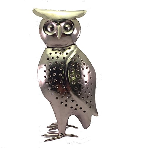 Owl Decorative Candle Holder – Artisan Crafted Iron And Nickel Tealight – Cute Lantern For Wax Or Battery LED Votive - Ideal Gift For Owl Lovers, Garden Party Decor – Unique Stand For Tea Light by Journey Of My Spirit