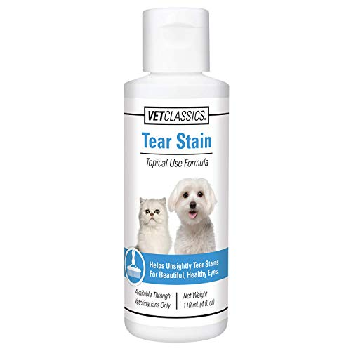 Vet Classics Tear Stain Liquid for Dogs & Cats, Water-Based, Helps Eliminate Tear Stains from Eyes & Prevents New Stains with Cranberry, Lutein, Eyebright, Oregon Grape Root, 4 OZ