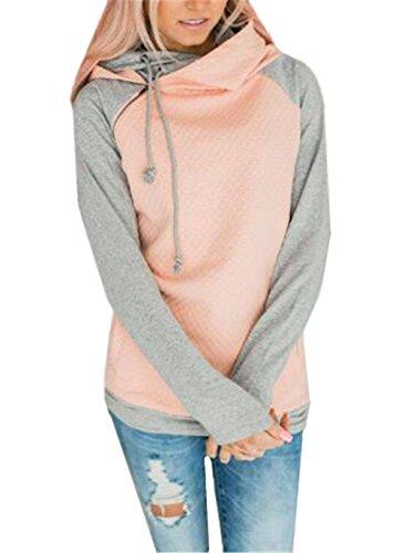 AILIENT Felpe Donna Invernale Giacca Manica Lunga Elegante Con Cappuccio E Zip Giubbotto Allentato Coat Asimmetrica Giubbino Cucitura Cappotto Sweatshirt Hoody Pink