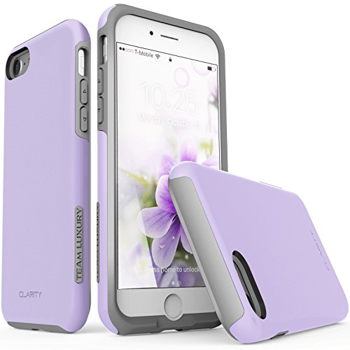 e 8 Case, TEAM LUXURY [Clarity Series] UPDATED G-II Purple Ultra Defender TPU + PC [Shock Absorbent] Premium Protective Case - for Apple iPhone 7 & iPhone 8 (Lavender/ Gray) (Style Silicone Rubber Case)