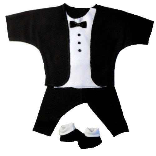 Jacqui's Baby Boys' Black and White Baby Tuxedo Suit