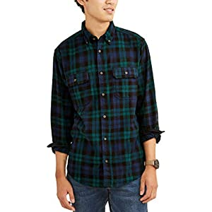 omniscient Men Fashion Casual Button Down Plaid Flannel Shirt Short Sleeve Tops Shirt