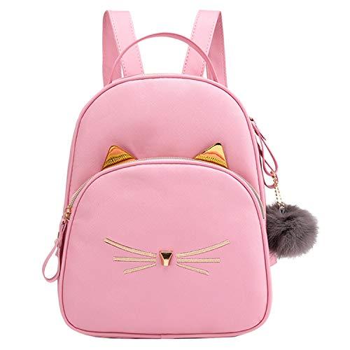 Women Pu Leather Students Solid Color Softback School Bag Zipper Backpack Square Soft Shoulder Bag,Pink