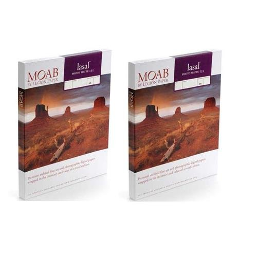 Moab 2 Pack Lasal Photo Matte, Double Sided, Bright White Archival Scored Inkjet Paper Cards, 235gsm, 7x10