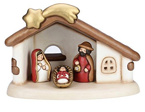 THUN Set capanna e Sacra Famiglia Ceramica Decorata a Mano 37x26x26, 2 cm