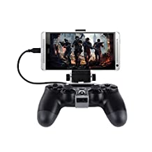 SUNKY - Android Phone Clip Holder for PS4 /PS4 Slim Controller, 180 Degree Gaming Mount Stand Bracket for Playstation 4 Dualshock Console - Max Clamp 6 inch Samsung Galaxy S7 S6 Edge Plus Note 5
