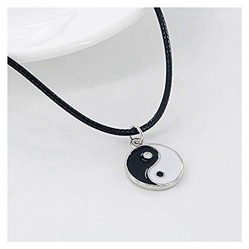 (Pusheng Retro Charm Pendant Necklace Tibetan Silver Boho Black Rubber Cord Yin and Yang)