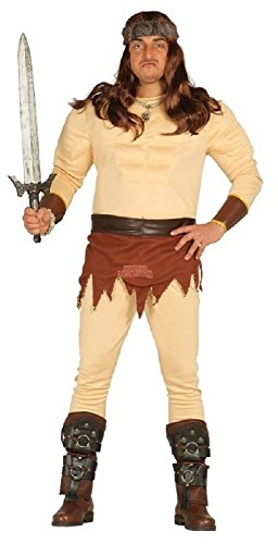 Mens 3 in 1 Muscle Chest He Man Viking Caveman Strong Man Stag Do Fancy Dress Costume Outfit Large (Large) -