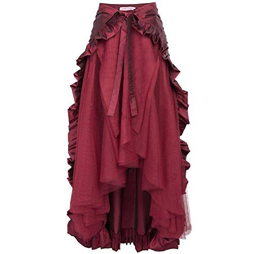 Price comparison product image JIANGTAOLANG Womens Ruffle Skirt Retro Vintage High Waist Long Maxi Punk Gothic Skirt Wine Skirt 3 XL