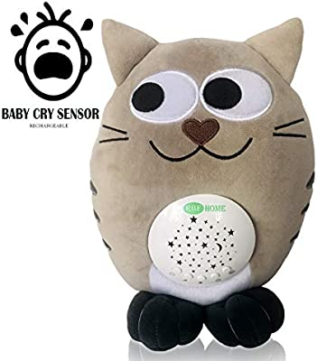 RBFHome Rechargeable Nursery Shusher, Lullaby & White Noise Sound Machine  Sleep Soother, Baby Cry Sensor - Night Light Projector & Musical Plush Cat