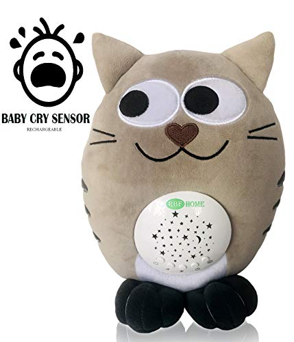 - RBFHome Rechargeable Nursery Shusher, Lullaby & White Noise Sound Machine Sleep Soother, Baby Cry Sensor - Night Light Projector & Musical Plush Cat Toy - Portable Stuffed Animal - Newborn & Baby Gift