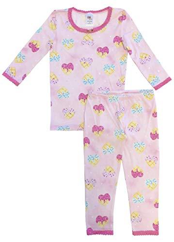 Esme Girl's Sleepwear 3/4 Long Sleeve Top Leggings set-14 Waffle Hearts ()
