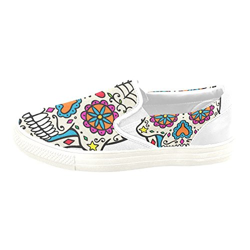super cute 9002c 0832a ... D-histoire Custom Sneaker Sucre Crâne Femmes Inhabituelles Chaussures De  Toile À Enfiler ...