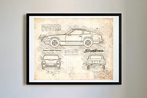 DolanPaperCo #361 Datsun 280ZX Fairlady 1979-83 Art Print, da Vinci Sketch - Unframed - Multiple Size/Color Options (Vintage, 11x14)