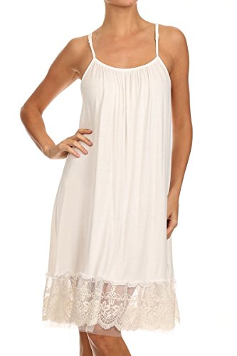 (Cream Lace Trim Long Full Length Camisole Slip Top/Dress Extender (XX-Large))