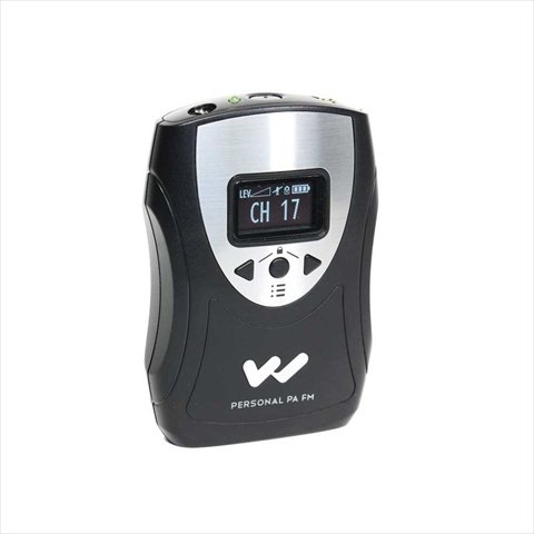 Williams Sound PPA T46 Personal PA Body-pack Transmitter, Black/Silver, 1.25'' OLED interface displays (master & aux volume level, mic mute, settings lock, battery level), Easy-to-use menu-access controls, 17-channel selectable by Williams Sound