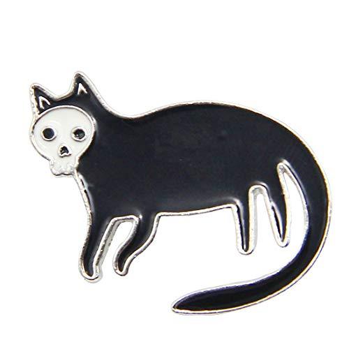 Black Enamel Cat Pin - Cat Enamel Pin Skull Black Cat Lapel Pins on the Collar Cute Pin Flair (SKULL CAT)
