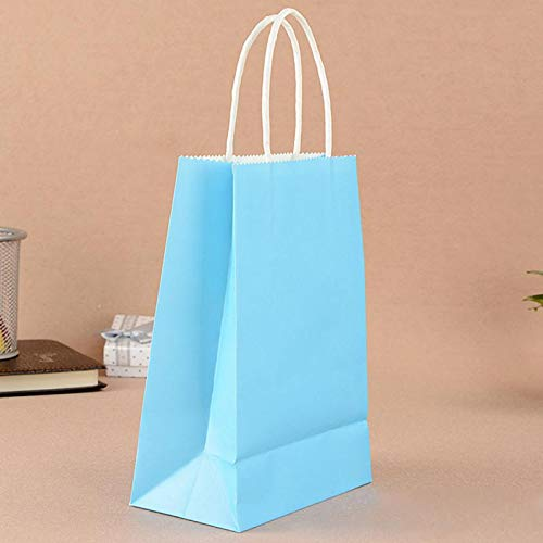 Haga Party Bag Paper Bag with Handles Sweet Color for Halloween Wedding Birthday Party Jewelry Festival Gifts Candy Paper Bags Sky Blue 21x15x8cm -