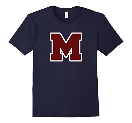 Mens Alphabet Initial Name Letter M tshirt Medium Navy