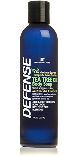Defense Soap Body Wash Shower Gel 8 Oz - 100% Natural Tea Tree Oil and Eucalyptus Oil Helps Wash Away Ringworm, Jock Itch, Psoriasis, Yeast, and Athlete's Foot