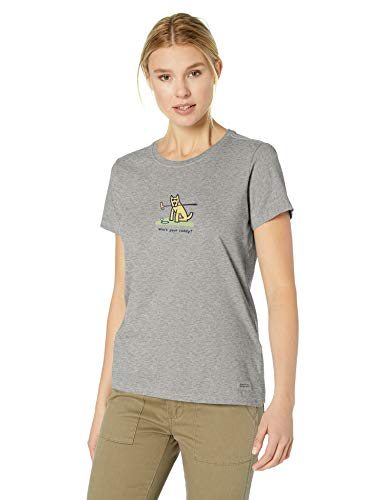 Life is Good Women's Vintage Crusher Tee Rocket Whos Your Caddy, Heather Gray, Medium