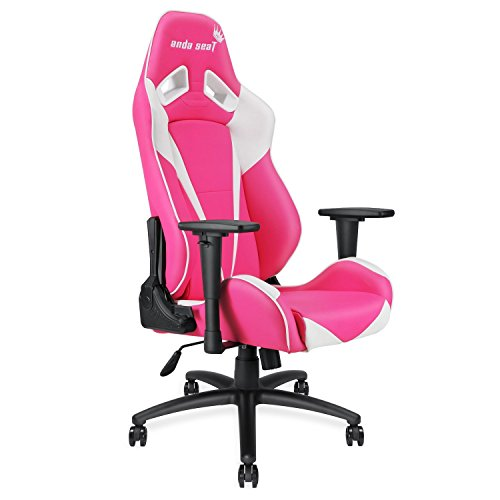 Anda Seat Pretty in Pink Executive PVC Leather Gaming Chair,Large Size High-back Recliner Office Racing Chair,Swivel Rocker Tilt E-sports Chair,Height Adjustable with Lumbar Support Pillow,Pink/White