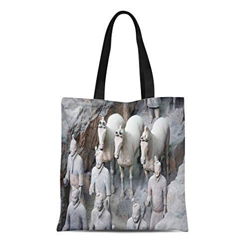 Semtomn Canvas Tote Bag Shoulder Bags Xian China 11 Mar View of the Terracotta Army Women's Handle Shoulder Tote Shopper Handbag