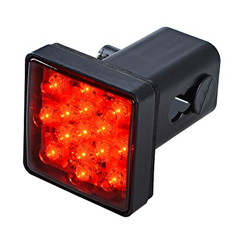 Anzio Red Lens Light 15 LED Super Bright Brake Light Trailer Hitch Receiver Cover Fit Towing Hauling 2 inch Standard Size Receiver for Truck SUV RV