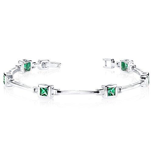 Simulated Emerald Bracelet Sterling Silver Bezel Set Princess Cut