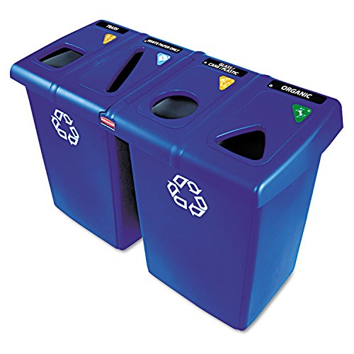 Rubbermaid Commercial 1792372 Glutton Recycling Station, Four-Stream, 92 gal, -
