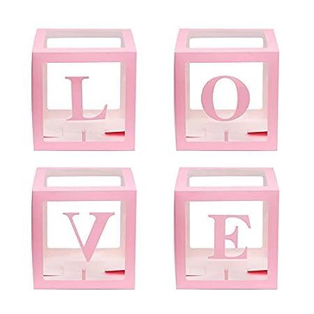 Aemiy 4Pcs / Cuadrado Baby Shower Globo Cajas Transparente ...