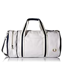 Fred Perry Men's Classic Barrel Bag, White/Navy, One Size