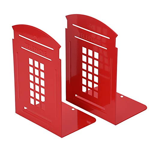 Bookends Red, MerryNine 1 Pair Heavy Metal Non Skid Sturdy Telephone Booth Decorative Gift for Bookshelf Office School Library - Bookend Themed